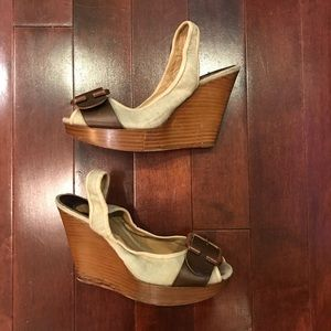 Chloé Buckle Slingback Wedge Peep Toe Sandals 7